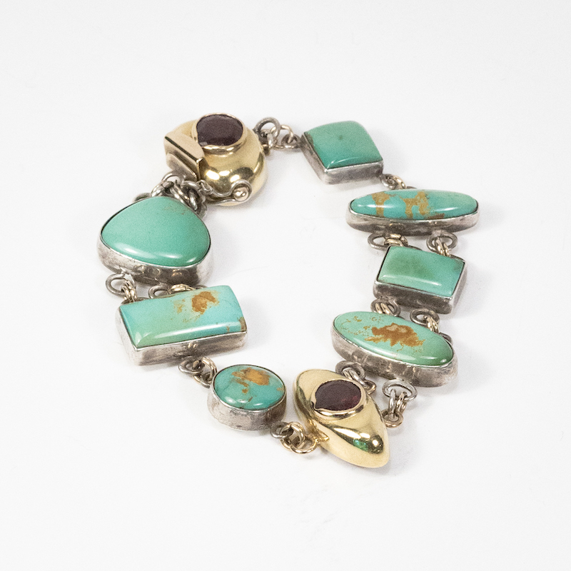 Bracelet.Sterling Silver and 14K Gold with Green Turquoise, and Garnet.7_ long.NFS.