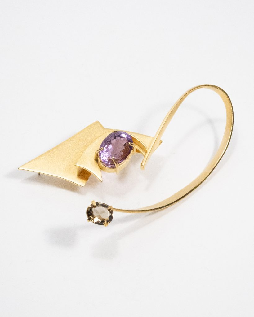 Constructed Brooch with Sandblasted Finish.Sterling 6.Silver with Gold Plate and Amethyst and Smokey Quartz.NFS