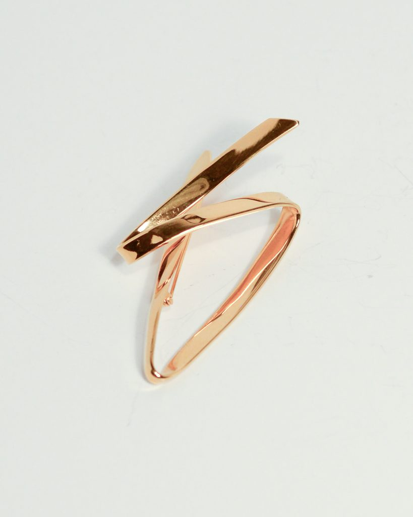 Forged Brooch.Sterling Silver with Gold Plate.3.25_ x 1.75_.NFS