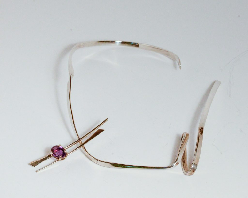 Forged Necklace.Sterling Silver with Faceted Oval Amethyst.8.75_ x 6.25_.$5000.