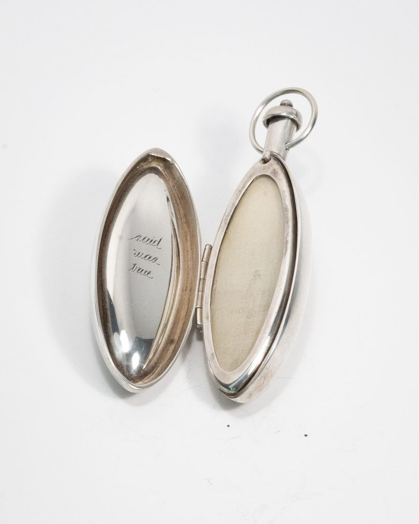 Hinged Locket Hanging Object.Sterling Silver with Engraving and Photograph.5 3_4_L x 3_W x 1_D. NFS