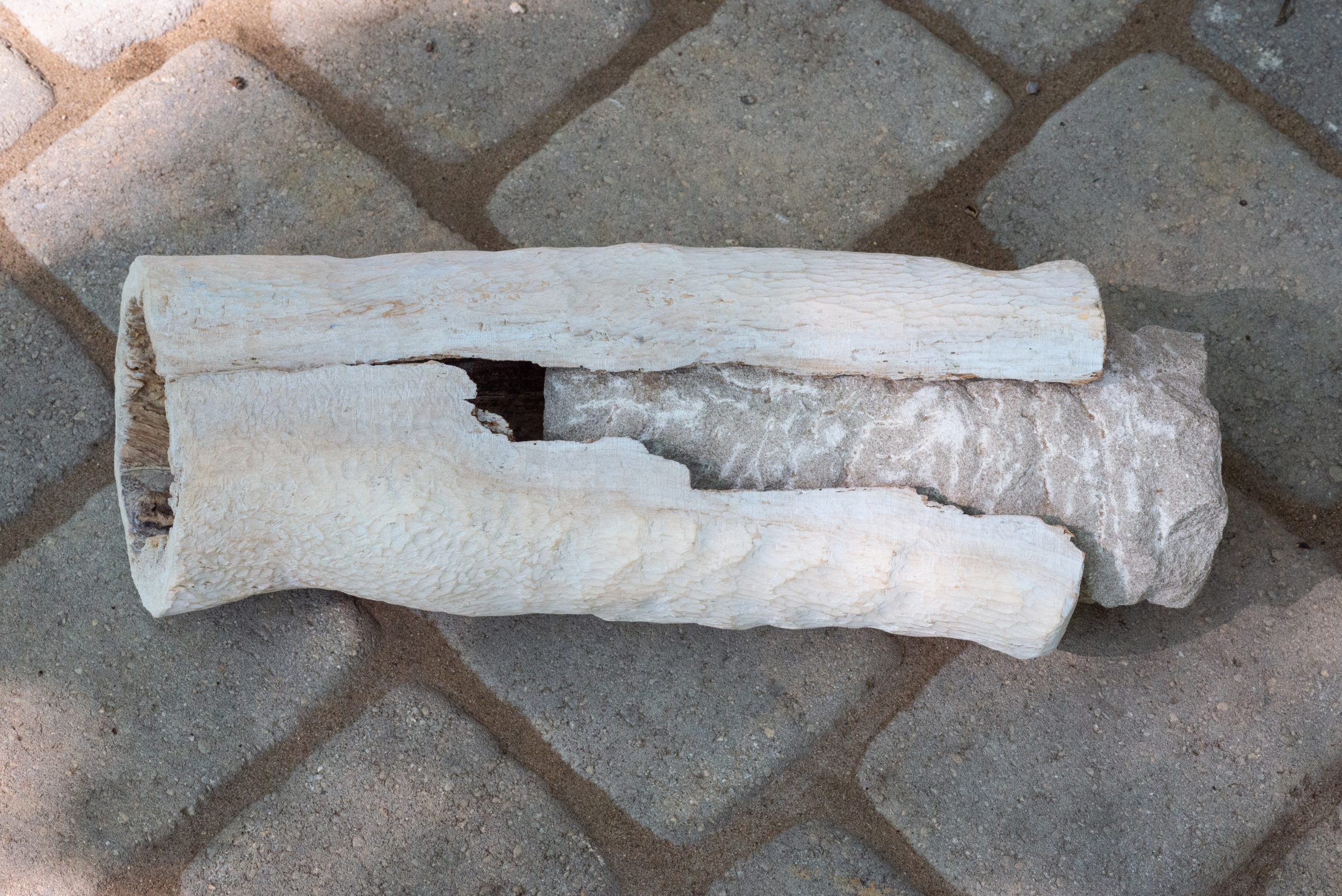 Intertwined.Carved Limestone and Stained Wood.15.5_L x 6_W x 6_D.$4000.3