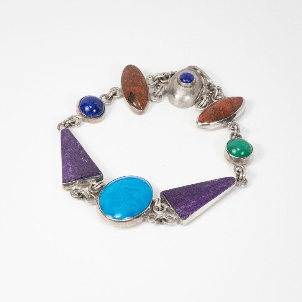 Multi-Stone Bracelet. Sterling Silver and Turquoise, African Sugilite, Jade, Jasper, lapiz.7.5_ long.$2500.