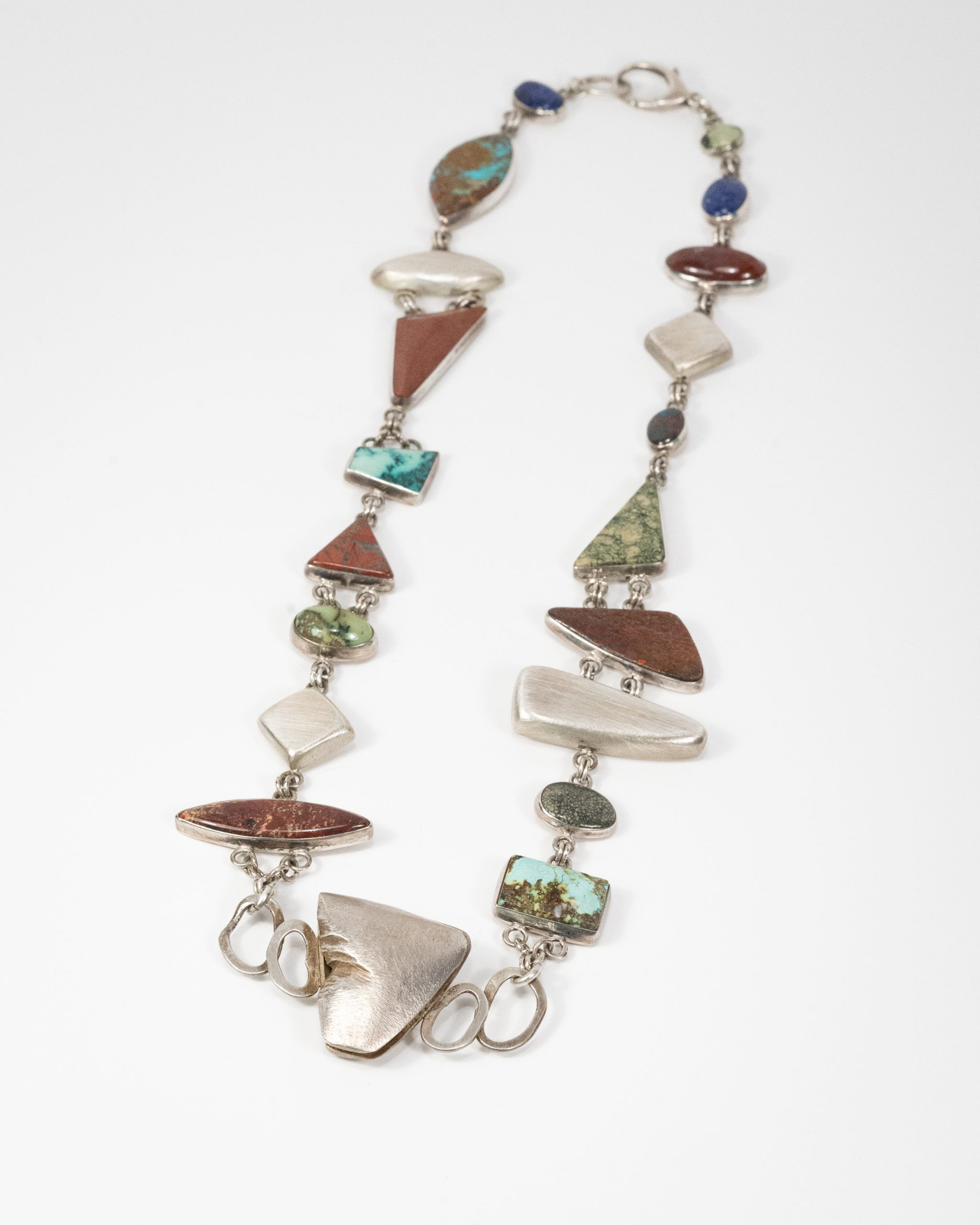 Multi-stone Necklace. Sterling Silver and Jasper, Turquoise,moss agate,lapiz.24.5_ long.$5000.