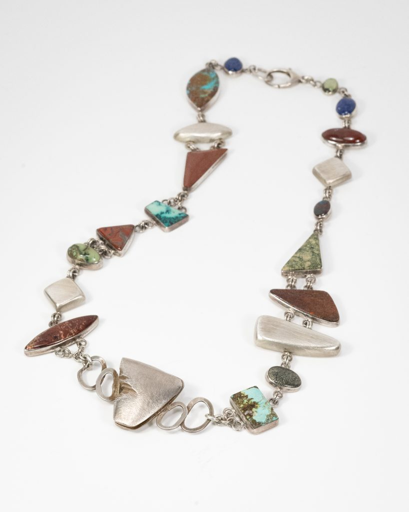 Multi-stone Necklace.Sterling Silver and Jasper, Turquoise,moss agate,lapiz.24.5_ long.$5000.2