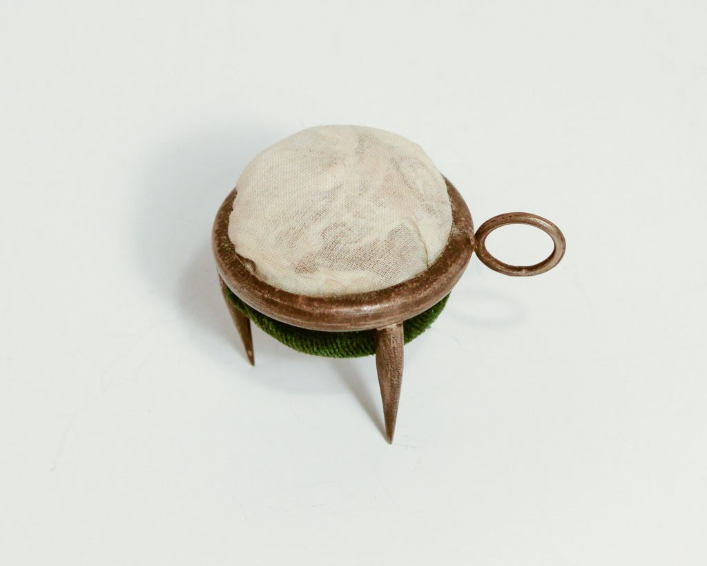 Tripod Object. Patinated Sterling Silver with Green Velvet, Goose Feather.2.5_ x 1.75_.NFS