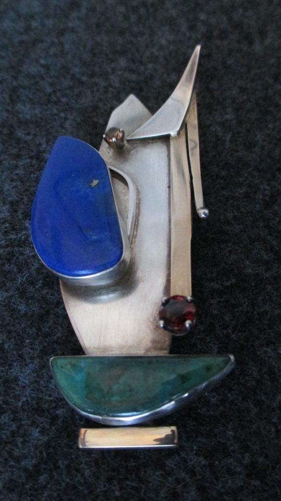 Lapis, Green Jade, Garnet and Tourmaline Brooch.Sterling Silver and 14K Gold